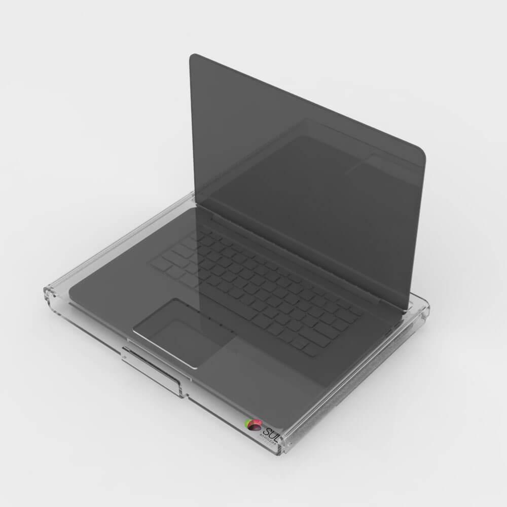 Expositor para notebooks para ser usado em lojas de eletrônicos com espaço para cabo de segurança
