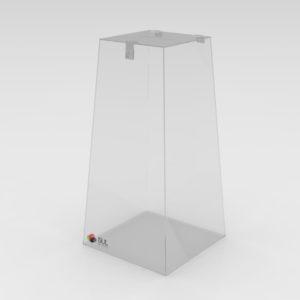 Urna em acrílico no formato pirâmide para coleta de sugestões