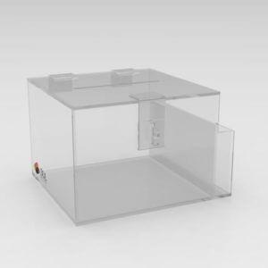 Urna caixa de sugestões em acrílico com porta folhetos