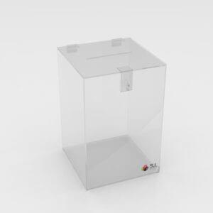 Urna quadrada em acrílico com cadeado para ação promocional