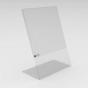 Display de mesa modelo L na posição retrato