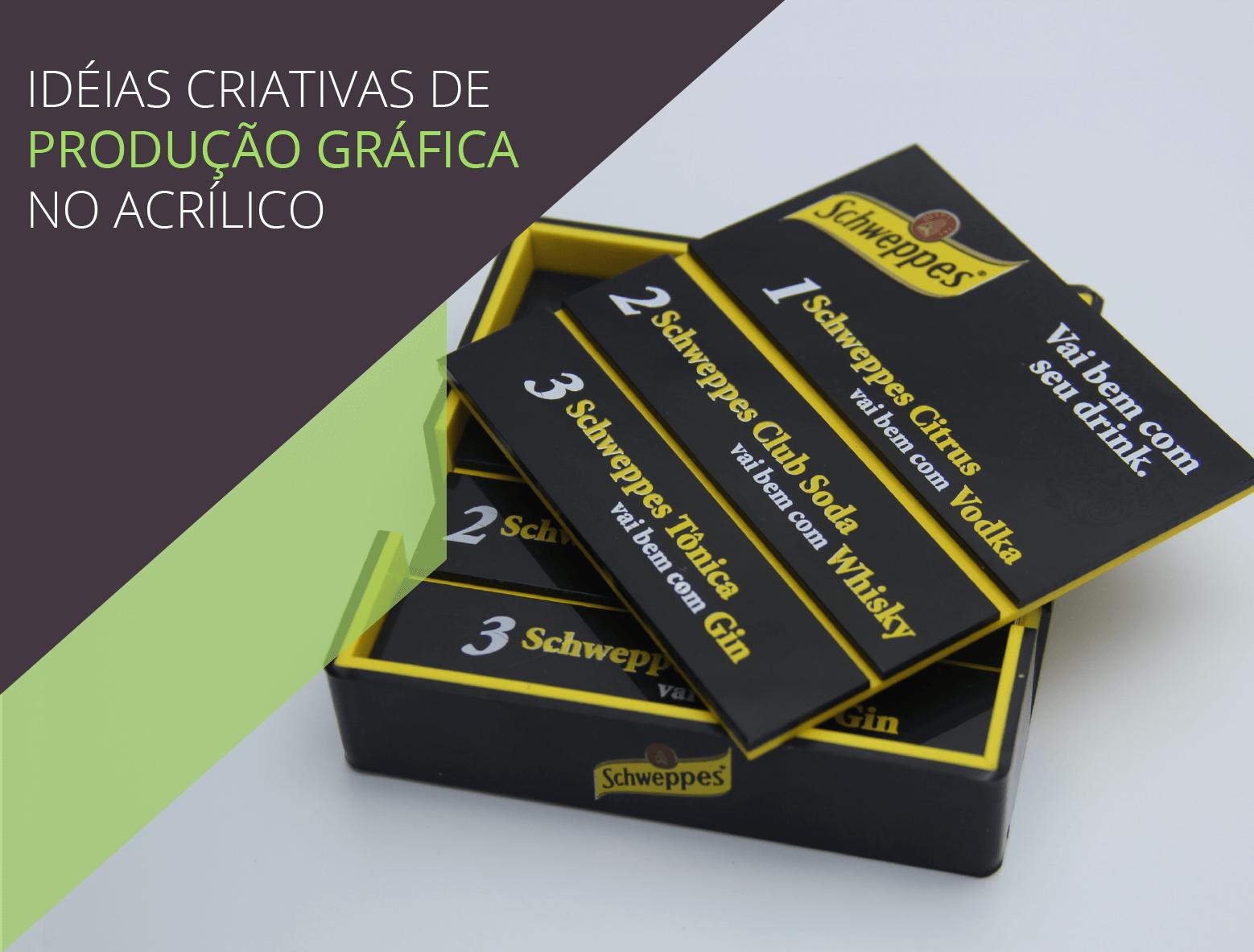 Produção gráfica no acrílico: descansa copos preto personalizado com serigrafia colorida, em branco em amarelo