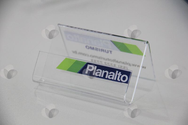 Porta cartões de visita modelo cavalete personalizado com adesivagem