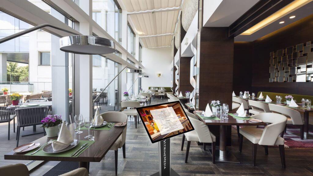 Totem Display de LED em acrílico para apresentar cardápio de restaurante