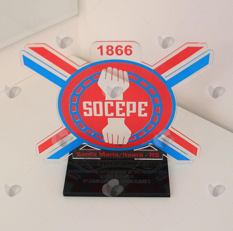 Premiação em acrílico para torneio de tiro ao alvo do clube Socepe de Santa Maria