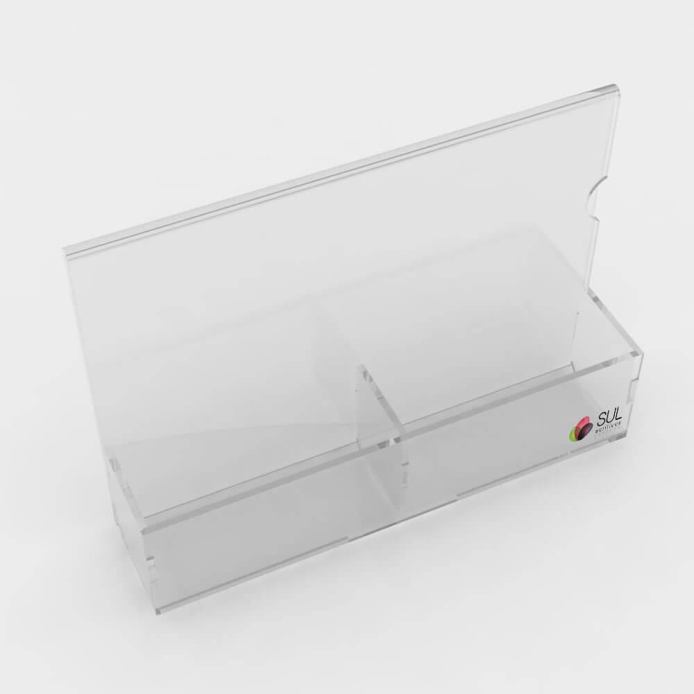 Porta sachês em acrílico com espaço para inserir mídia tamanho A5