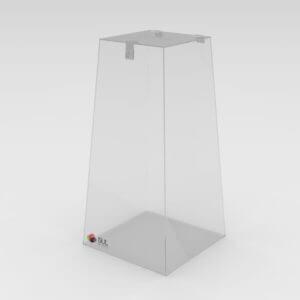 Urna pirâmide em acrílico para coleta de sugestões em restaurante