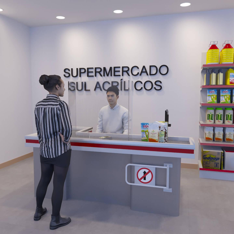 Proteção para caixa de supermercado