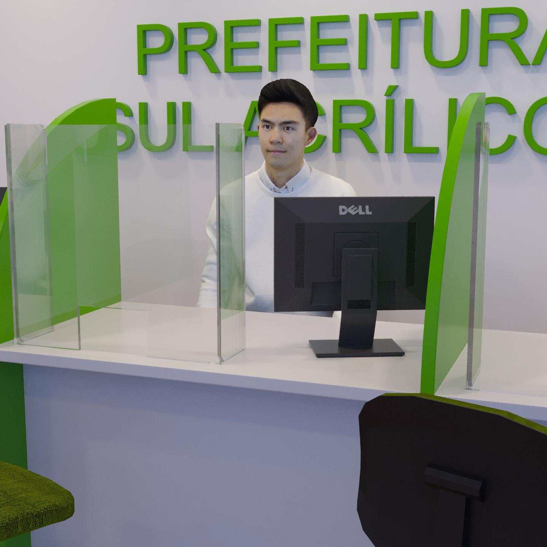 Escudo de proteção feito em polímero transparente e instalado em mesa de prefeitura