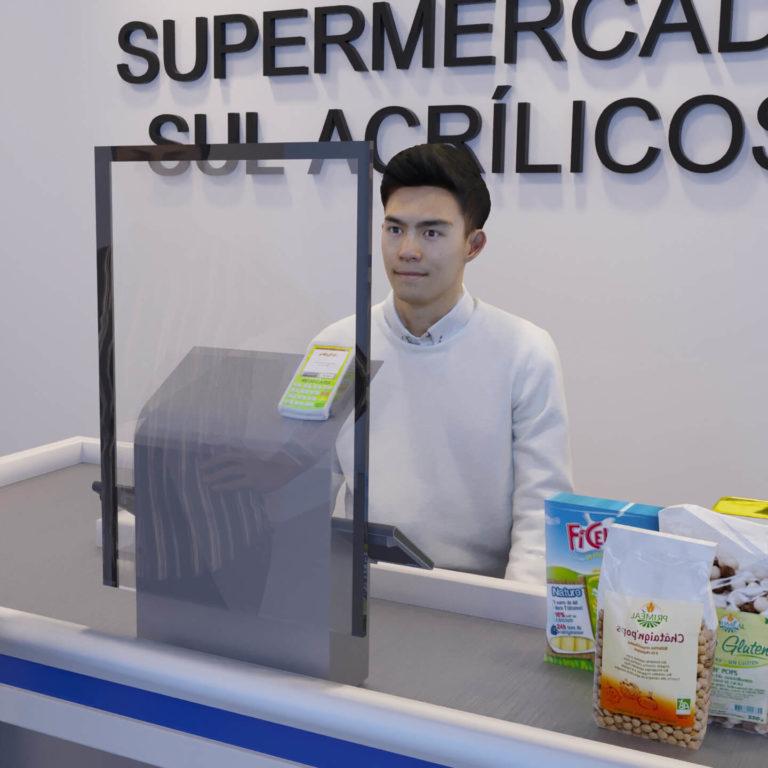 Escudo Protetor Salivar para Caixa de Supermercado