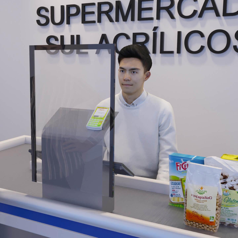 Proteção para caixa de supermercado estreita