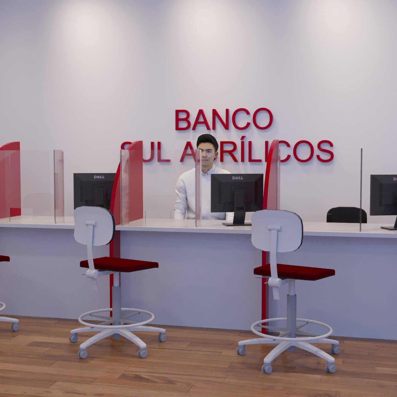 Escudo protetor transparente para agências bancárias