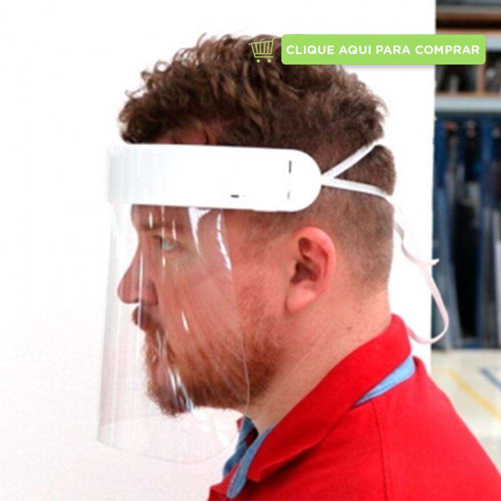 Máscara Face Shield Premium transparente com elástico para ajuste