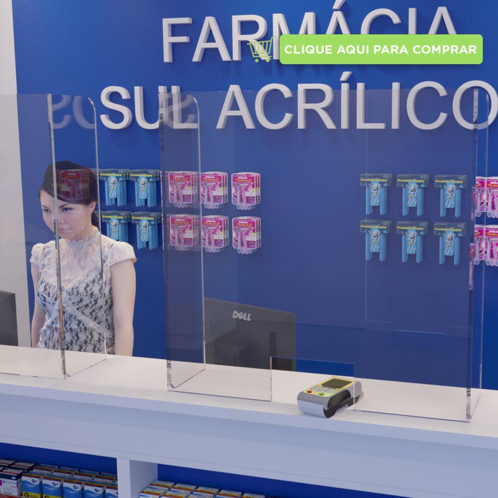 Proteção de caixa de farmácia em acrílico transparente