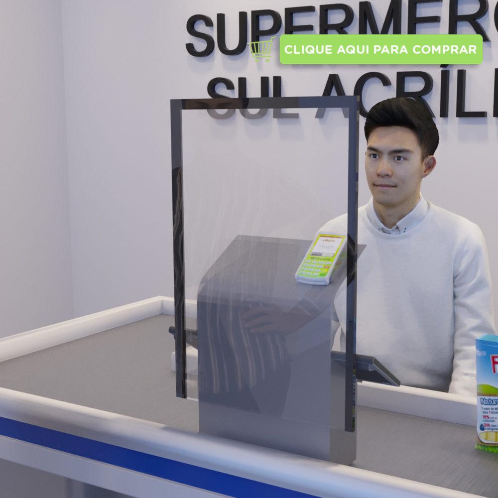 Proteção para caixa de supermercado estreito com fitas nas laterais