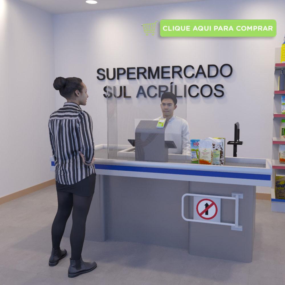 Proteção de Caixa de Supermercado com recorte central