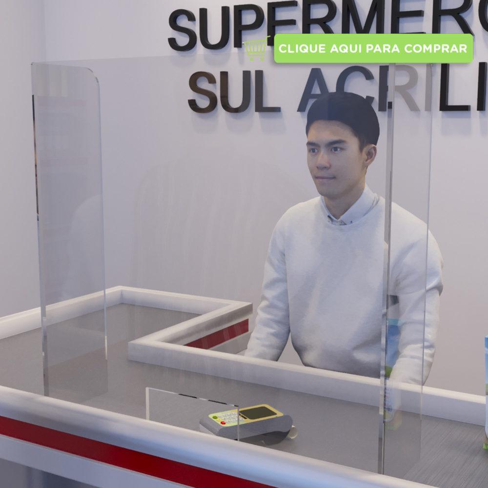 Protetor para Caixa de Supermercado com recorte inferior