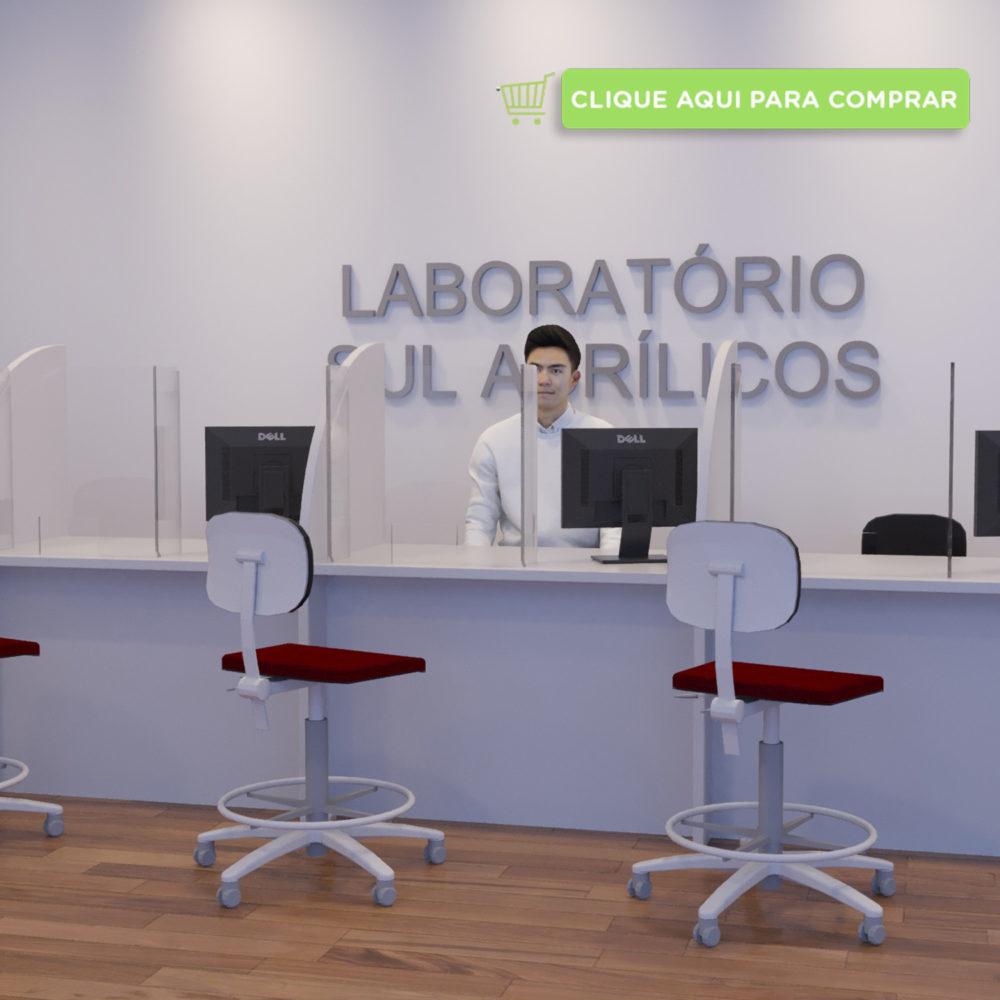 Escudo protetor salivar para mesas de laboratórios e pronto atendimentos