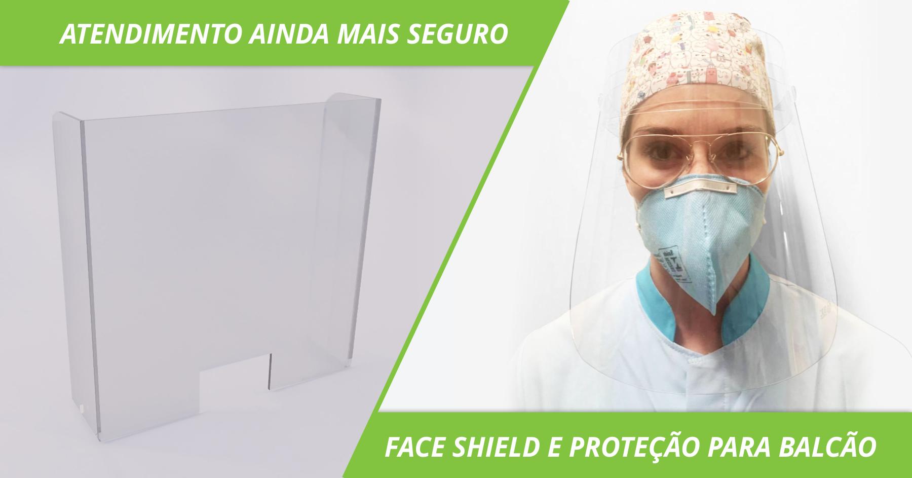 Proteção para caixas e face shield