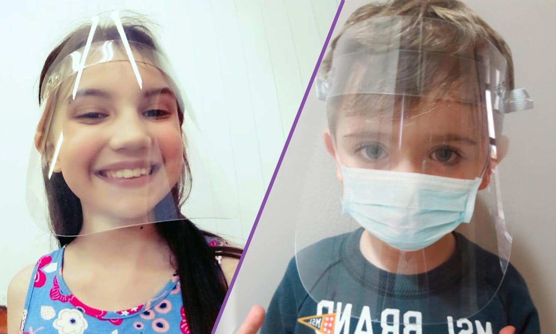 Crianças com máscara Face Shield Infantil